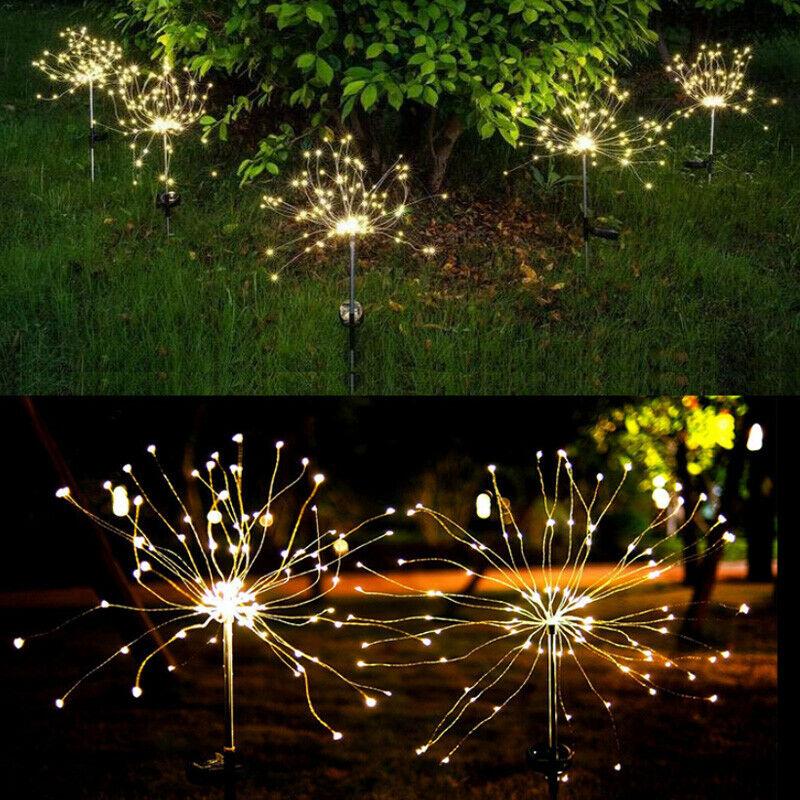 2er Feuerwerk Licht 150LED Lichterkette Hängend 8 Modi IP65 Innen Außen Party