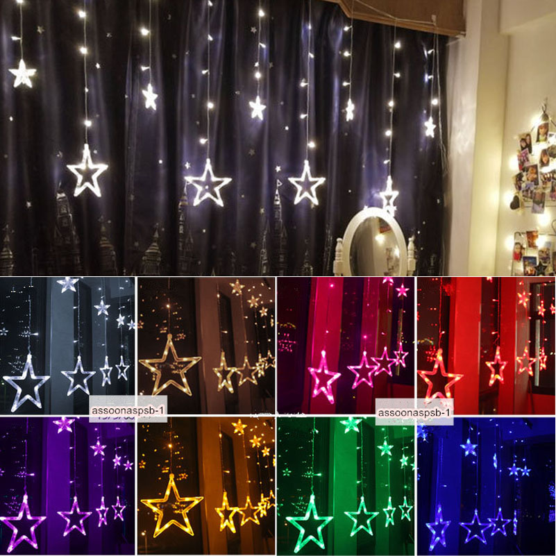 led sterne lichtervorhang weihnachtsbeleuchtung lichterkette licht fenster deko ebay. Black Bedroom Furniture Sets. Home Design Ideas