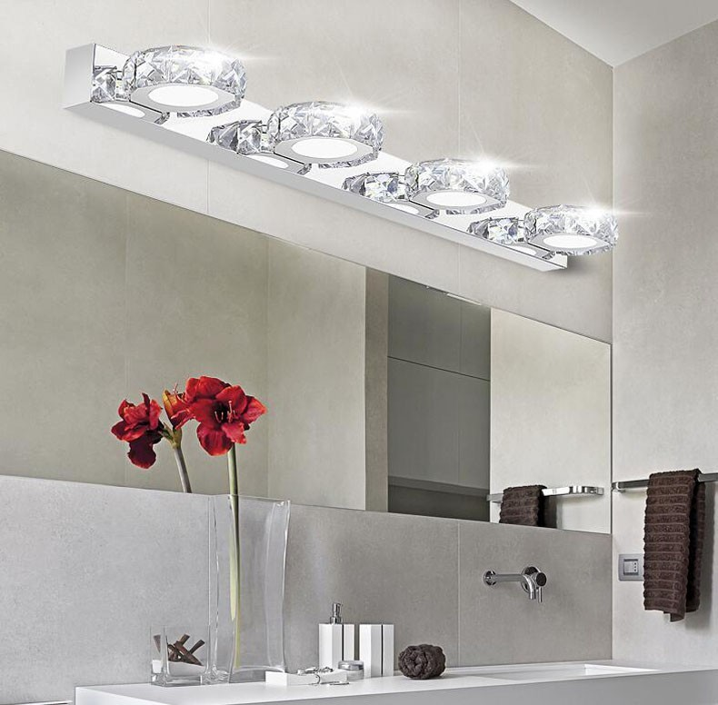 Modern Bathroom Crystal Lights Wall Led