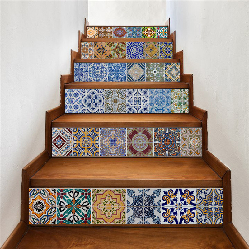 3D 6pcs Stair Stickers Risers Decoration Photo Mural Vinyl Decal Wallpaper Decor