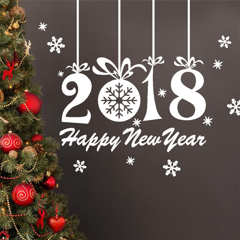 Merry christmas happy new year wall stickers vinyl decal for Christmas wall mural plastic