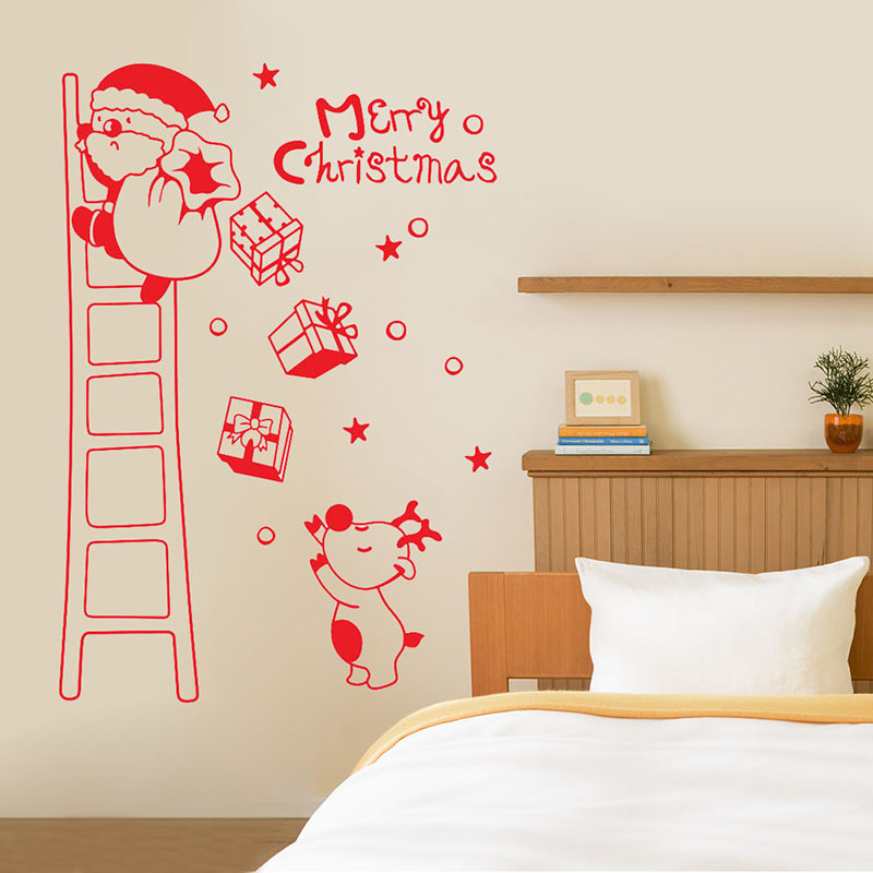 Merry Xmas Removable Wall Decals Deer Snowflake Window