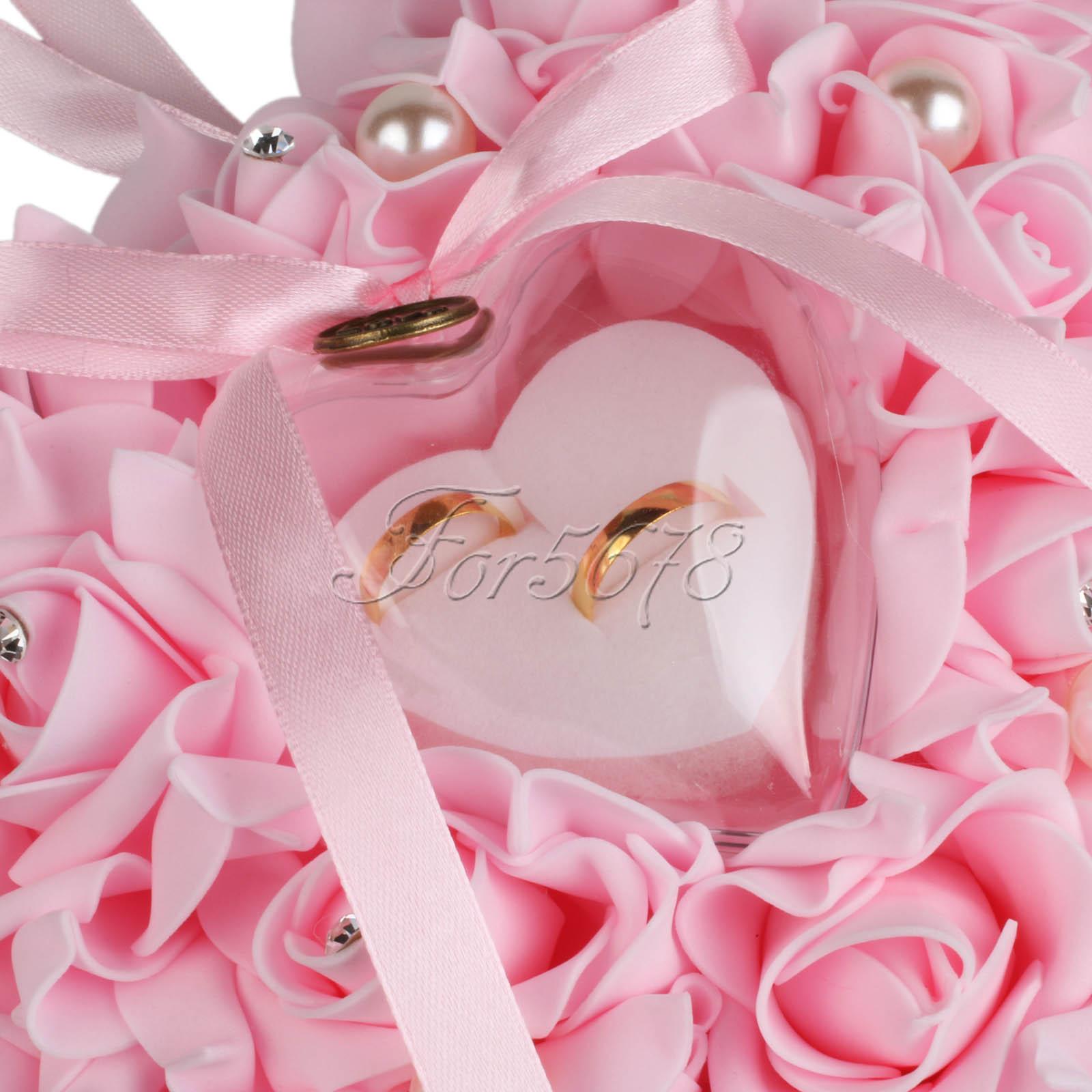 Heart Shape Foam Roses Flowers Ring Pillow Cushion Bearer for ...