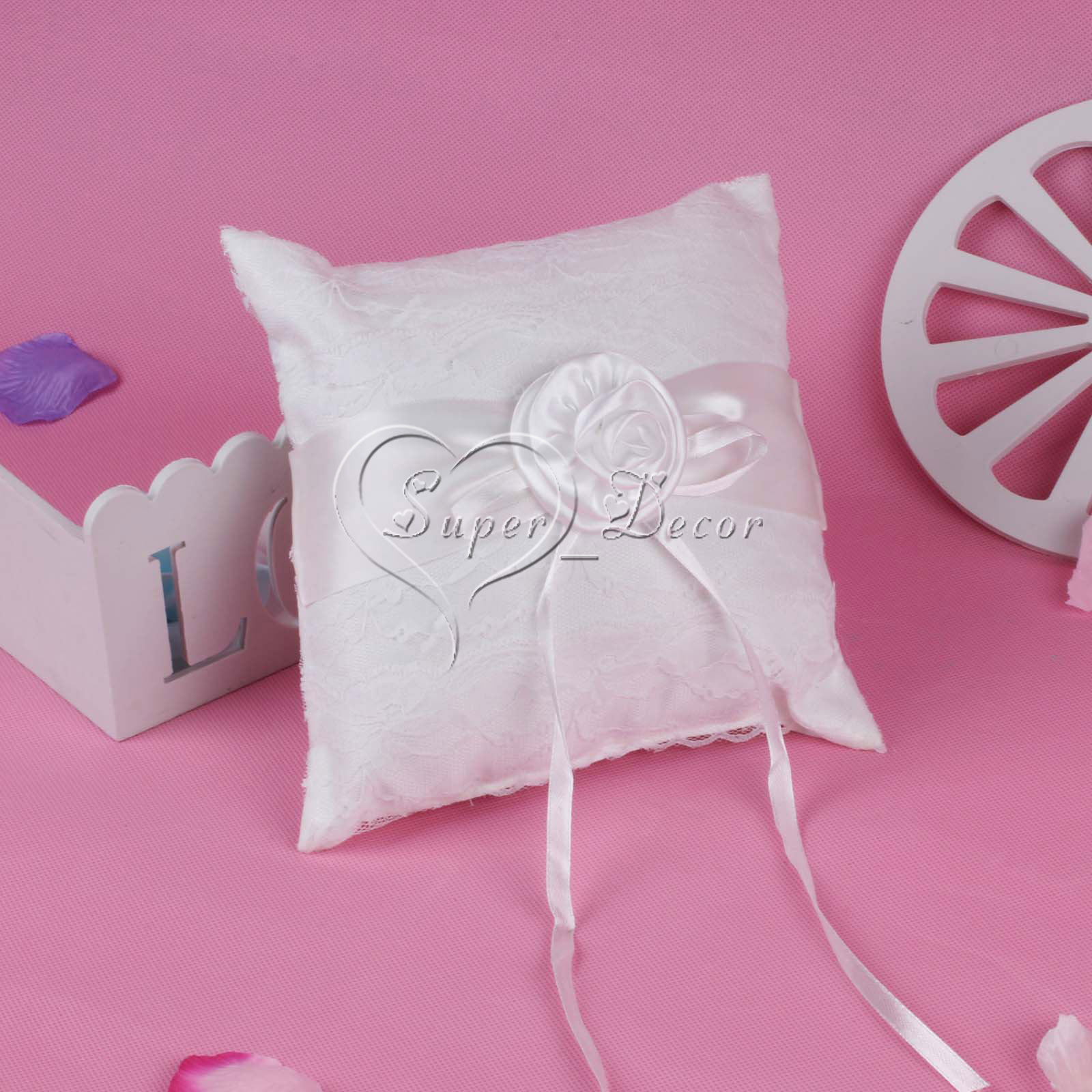 5Color Wedding Ring Pillow Cushion with Satin Rose Flower Ribbon for ...