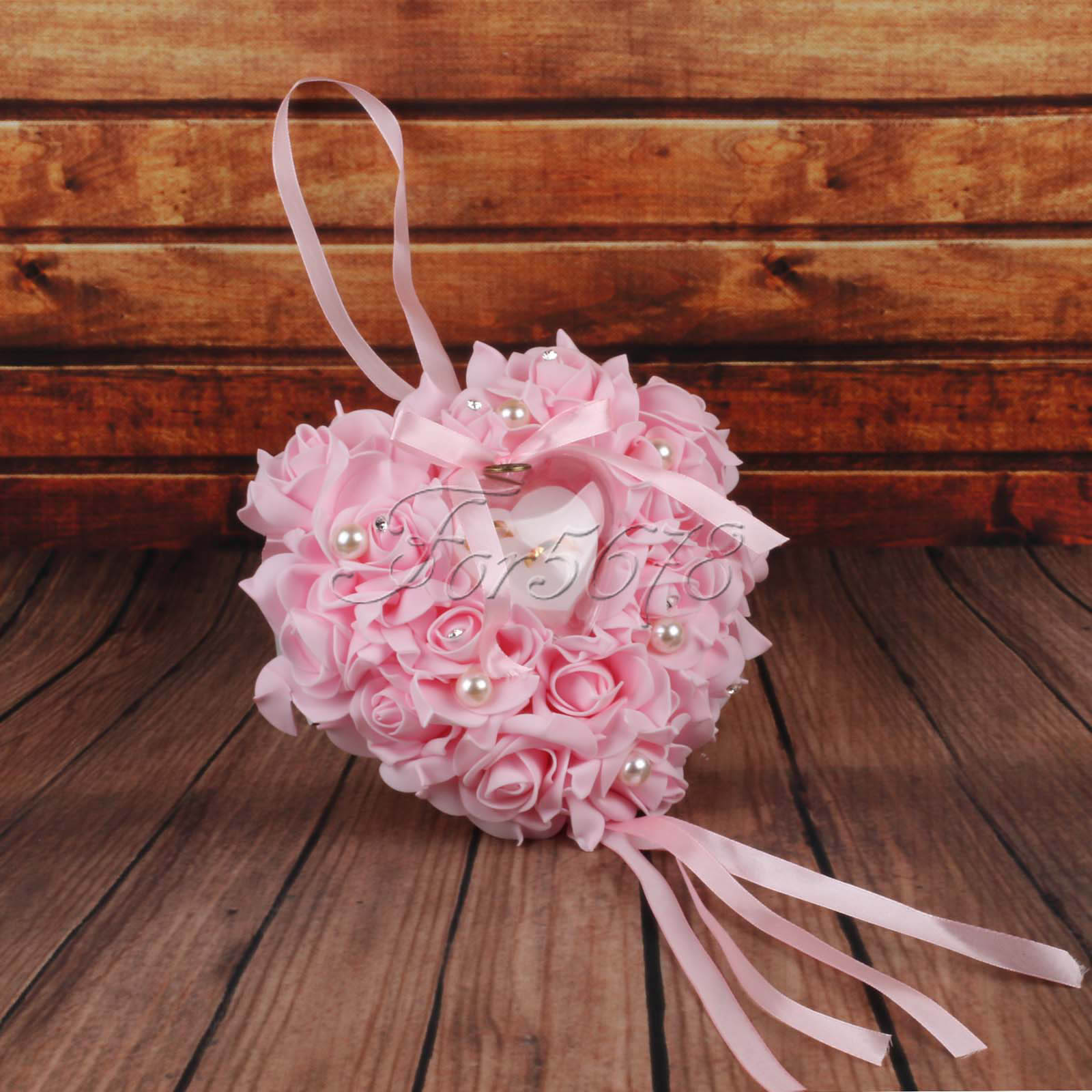 Heart Shape Foam Roses Flowers Ring Pillow Cushion Bearer for ...