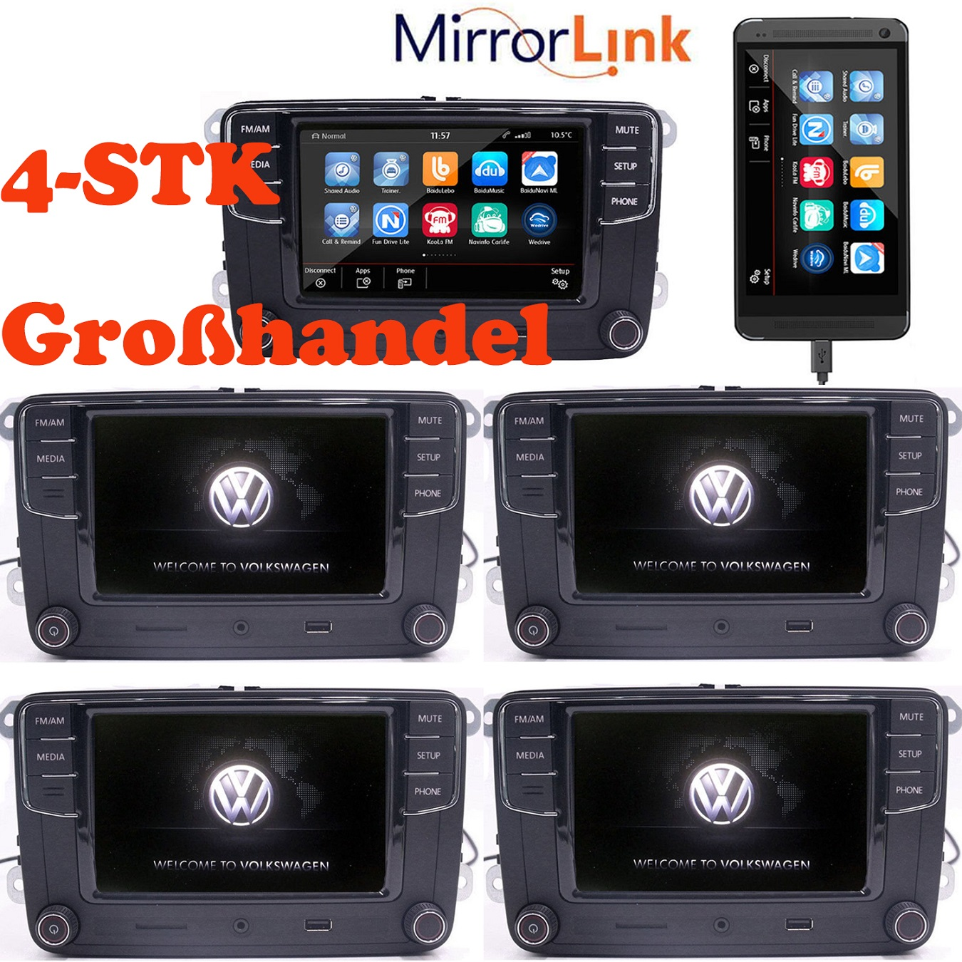 4stk gro handel 6 5 autoradio vw rcd510 rcd330 mirrorlink. Black Bedroom Furniture Sets. Home Design Ideas