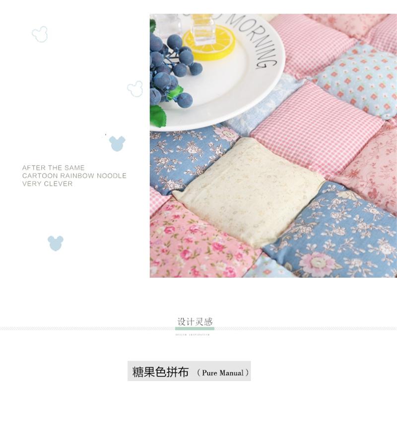 Adult Kids Floral Cotton Bedroom Crawling Floor Mat Home