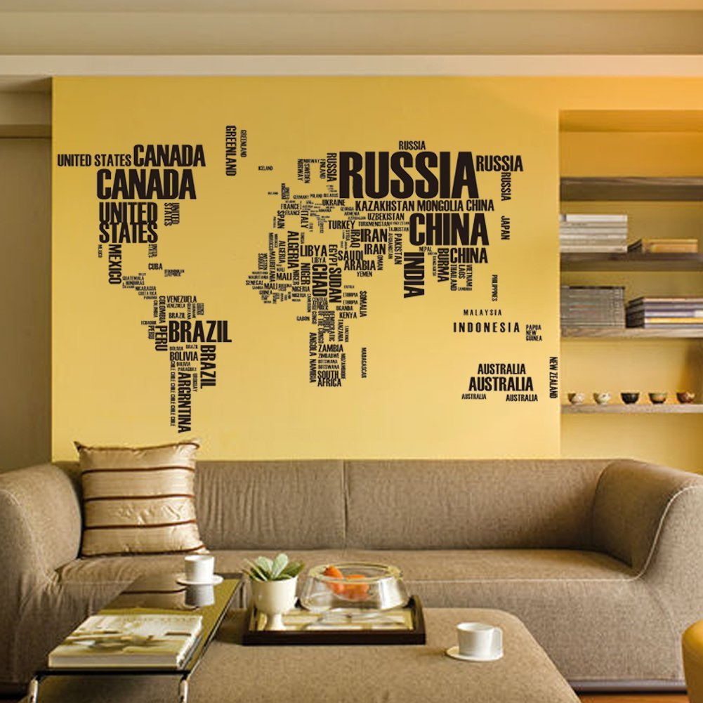 Removable World Map Black English Alphabet Wall Stickers DIY World ...