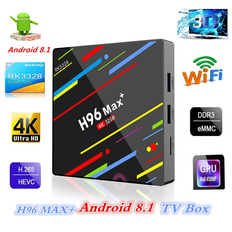 H96 Max Android8.1 TV Box RK3328 WiFi  Quad-Core 4G RAM 64G ROM Media Player