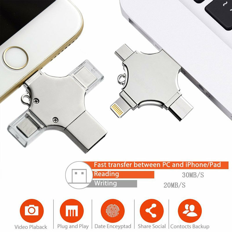 4 in 1 64-512GB Type-c Pendrive USB Flash Drive  Memory Stick For iPhone Android