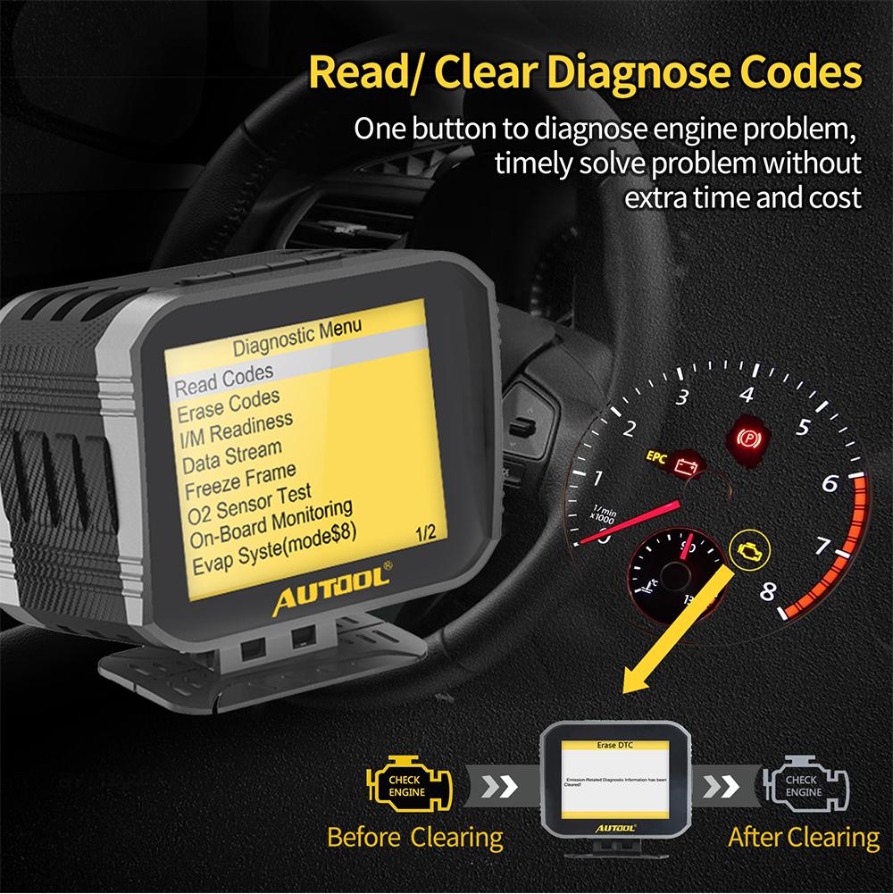 AUTOOL X80 OBD2 Übergeschwindigkeit Alarm Öl-Temperaturanzeige Fehlercodeleser