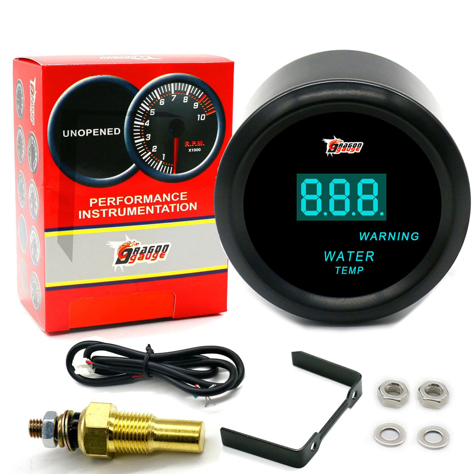 Water Temperature Meter,2inch 52mm Universal Car Truck LED Digital Water Temperature Gauge Instrument Tool