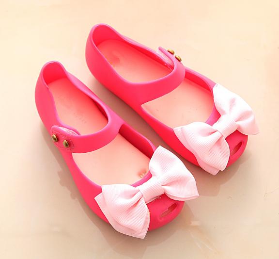 Princess Girls Kids Jelly Bow Sandals Prewalker Flat Summer Rain Shoes