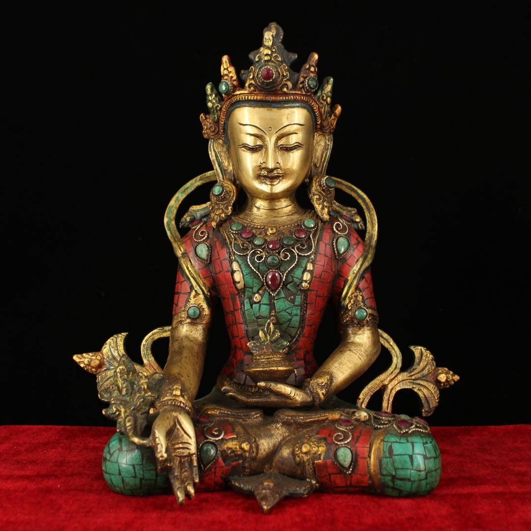 Chinese Antique Tibetan beeswax gemstone bowl Buddha statue