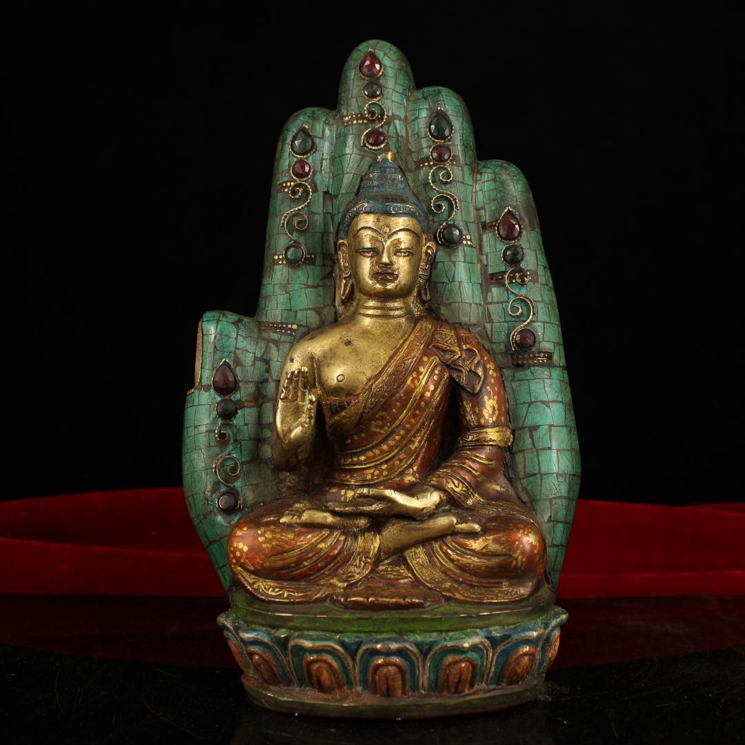 "9.6/"" Collect Old China Antique Bronze Carved Buddhism Shakya Mani Buddha Statue"