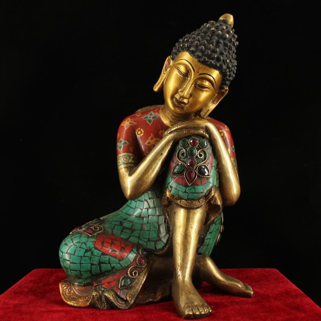 China Antique Tibet copper handmade Gemstone inlay Padmasambhava Buddha statue