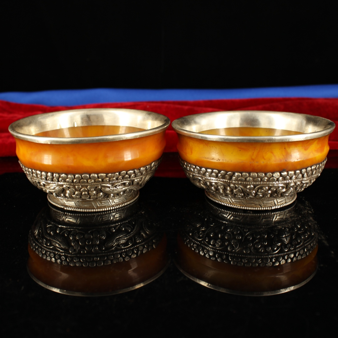 """5/"""" China old Antique Tibet Beeswax handmade Gem inlay wire inlay Butter bowl"""