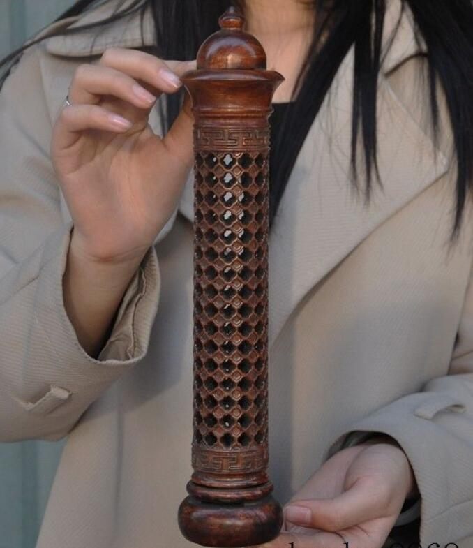 Old Chinese Rosewood Wood pure Hand-Carved Dragon Statue cylinder Incense barrel