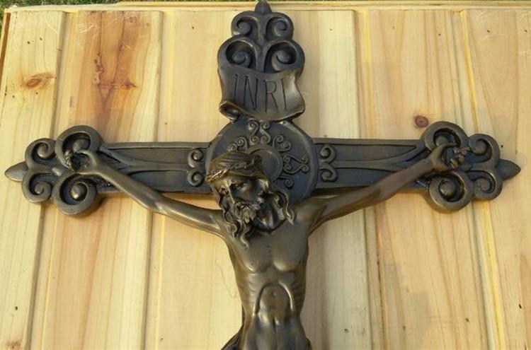 Art Deco handmade Sculpture Christianity Jesus cross Bronze Statue ...