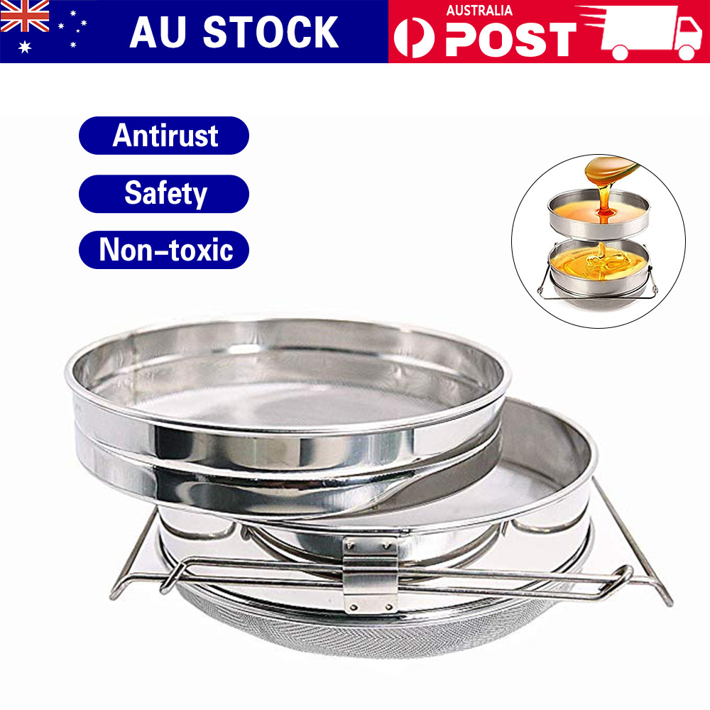 Stainless Steel Honey Strainer Extractor Filter Screen Mesh Double Sieve