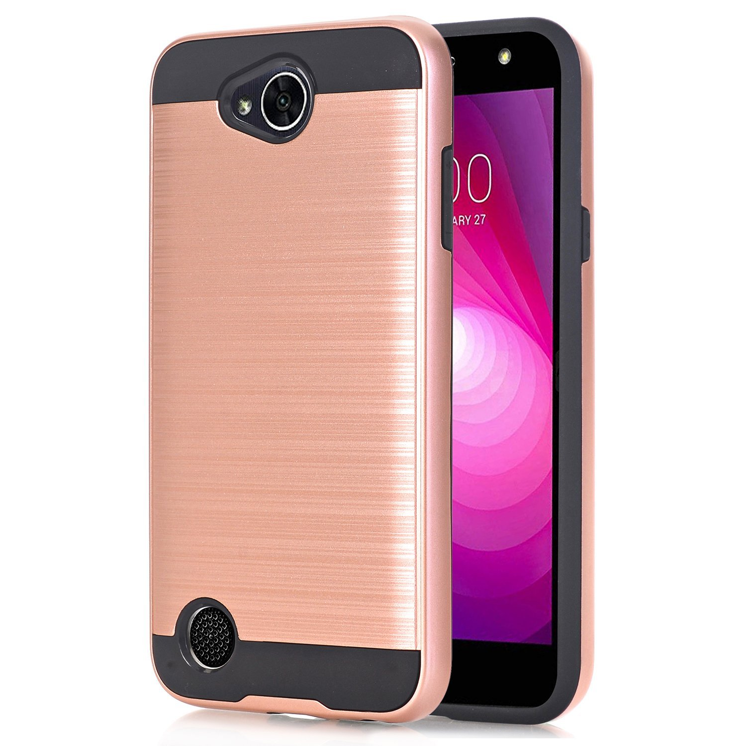 For LG X Power 2 / LG X Charge / LG Fiesta 2 / LG Fiesta LTE Case Brushed Armor Hybrid Shockproof Phone Cover