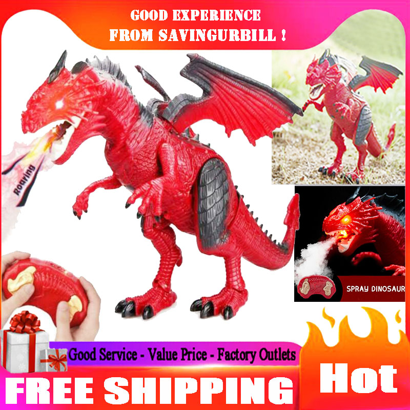 Batteries Operated Walking Fiery Dinosaur Model Toy-Wings Flaping /& Roaring
