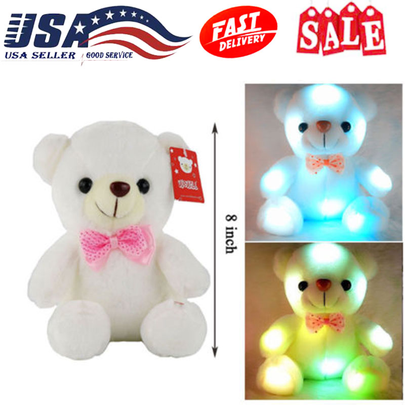 Stuffed Animals Toy Bear Toy Kids Night Light Lamp Toys For Girls LED Cool Toy