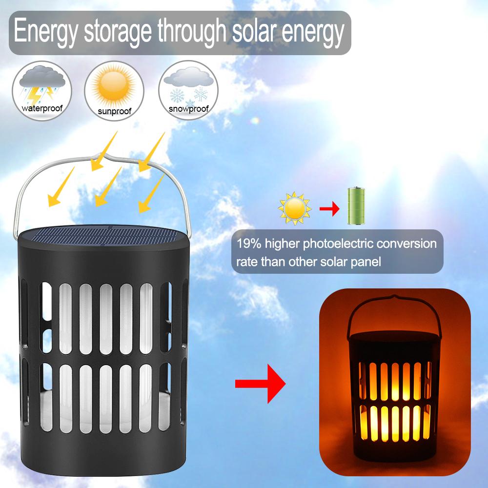 2er Solarleuchte Solar Fackel Gartenbeleuchtung 96 LED Flammen Außenlampe Set