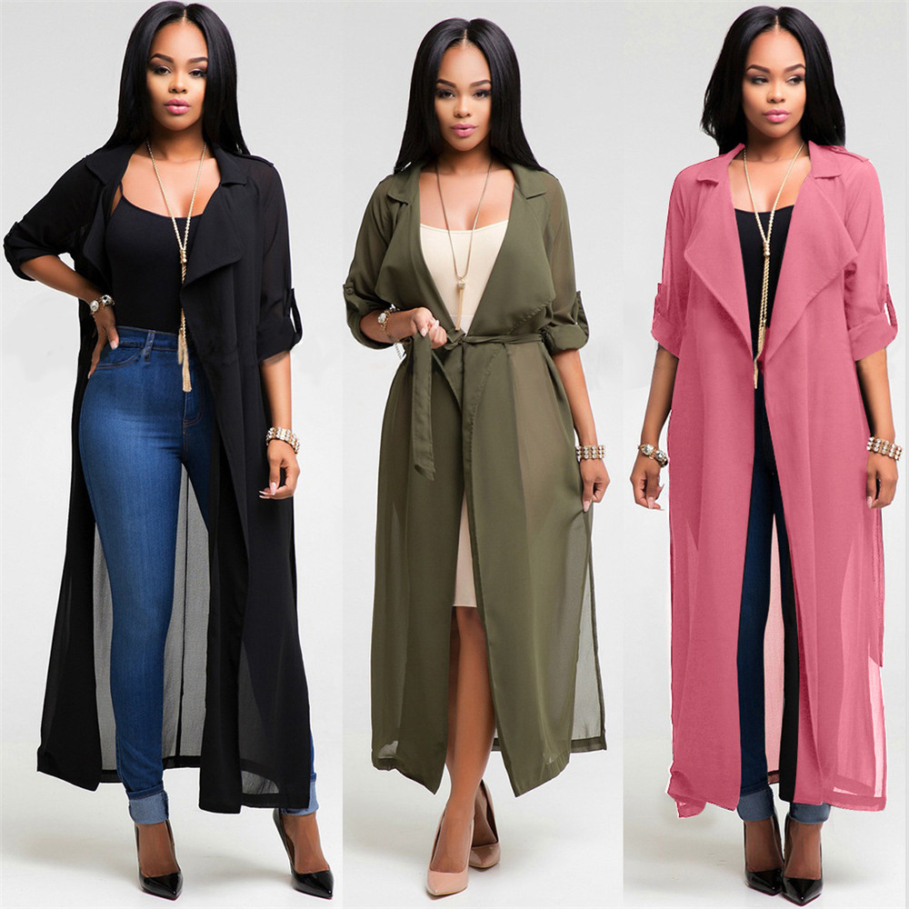 US Women Kimono Jacket Long Sleeve Maxi Cardigan Chiffon Garment ...