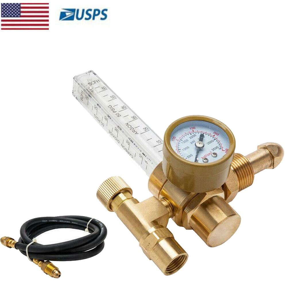 New CGA-580 Argon CO2 Mig Tig Flow Meter Regulator Welding Flowmeter  0-3500PSI