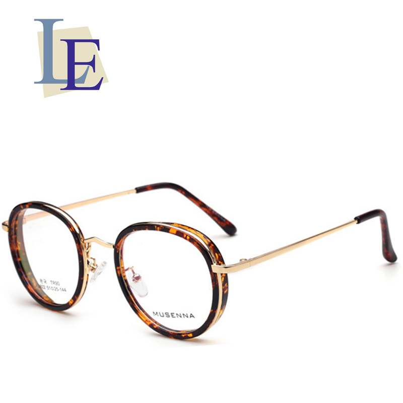 be19c456f85 LE Steampunk Round Prescription Eyeglass Frames Leopard Glasses Rx Myopia  Lenses
