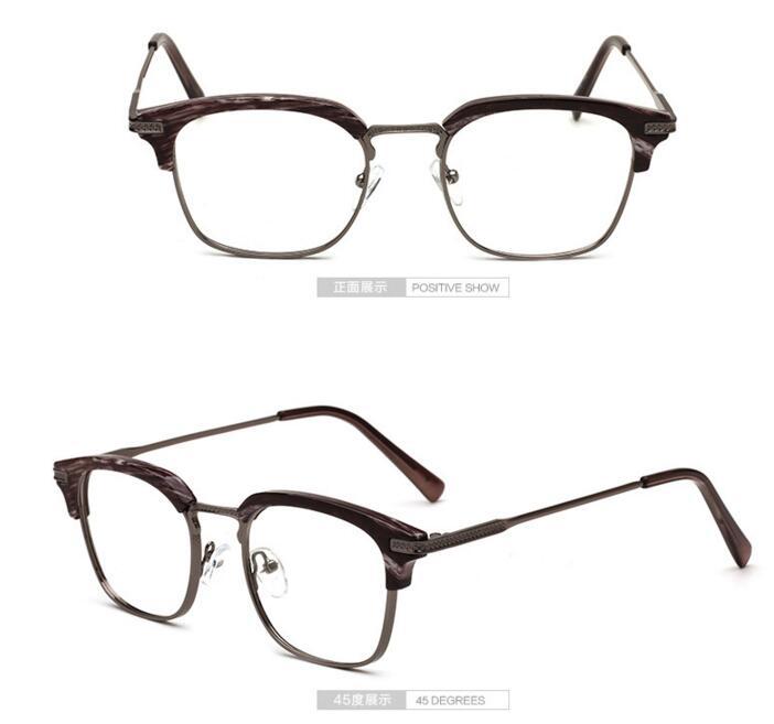 c0bd25a3072e8 LE Korean Wood Grain Glasses Frame Half Myopia Optical Eyewear Rx  Prescription