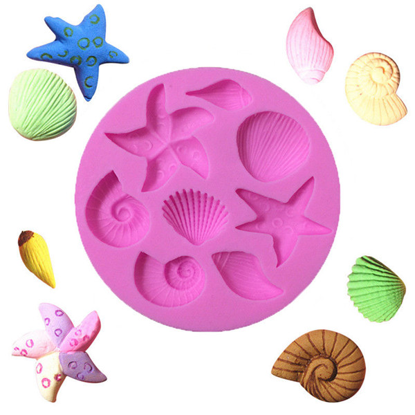 Sea Shell Starfish Shell Fondant Cake Mold Chocolate Mould Silicone SS