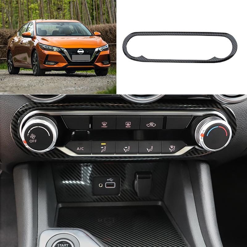 For Nissan Sylphy Sentra 2020 carbon fiber console AC switch control frame trim