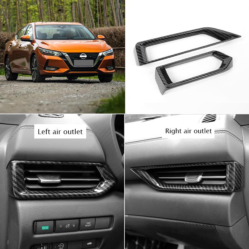 For Nissan Kicks 2017 Console Air Vent Outlet Cover Trim Carbon Fiber Color ABS