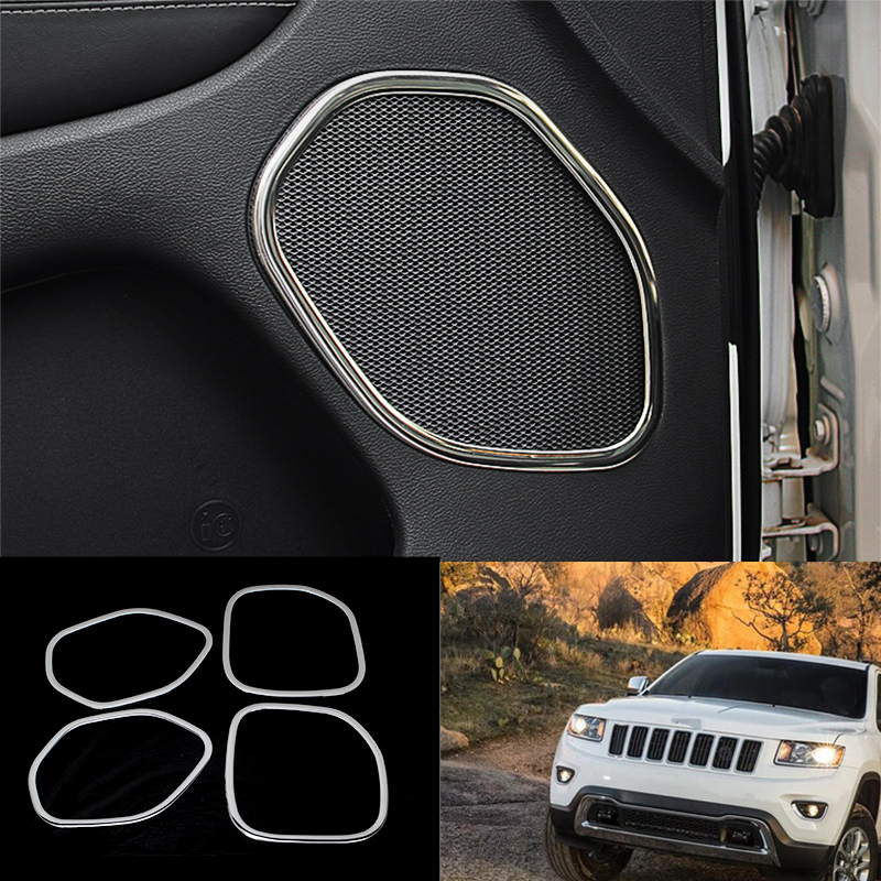4PCS Interrior Car Door Speaker Cover Trim for Jeep Grand Cherokee 2011-2015