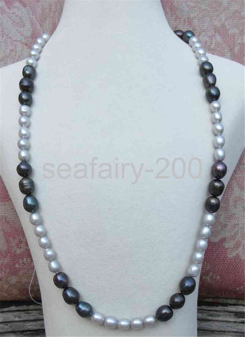 elegant 8-9mm nature south sea black green pearl necklace 18inch 14k