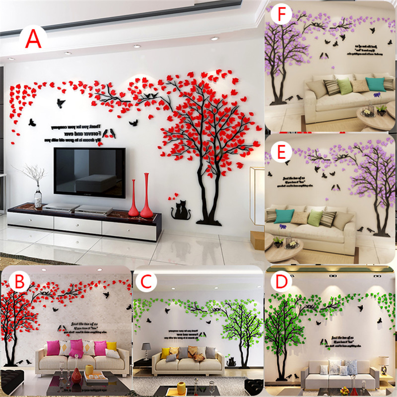 3D Tree Wall Art Stickers Removable Vinyl Decal Mural TV Background ...
