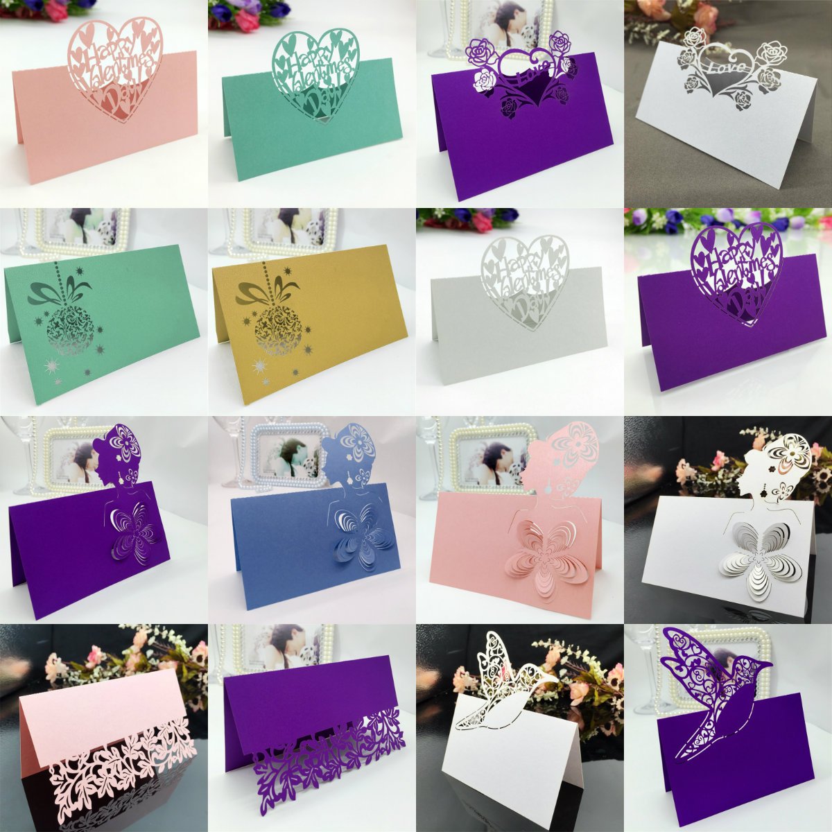 50X Laser Cut Place Card Blank Table Number Name Wedding Party ...