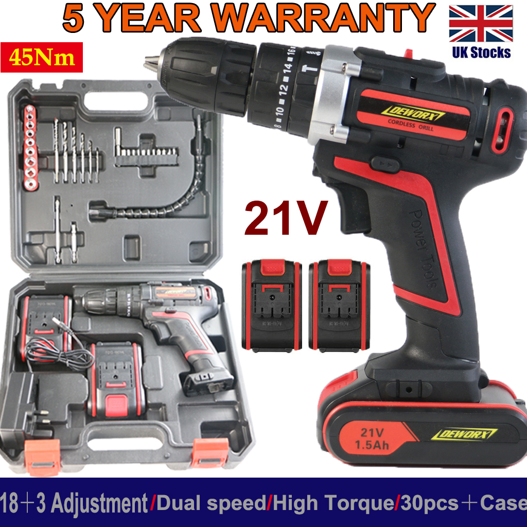 21V Cordless Drill Driver 18+1 Torque Electric Screwdriver Drill Fast Charging