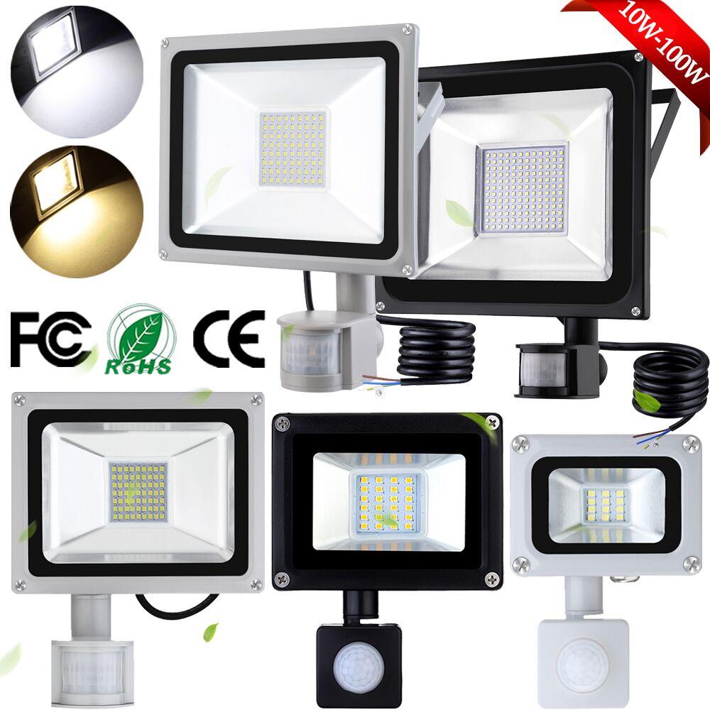 10//20//30//50//100W LED Floodlight PIR Sensor Motion Spotlight Outdoor Garden Lamp