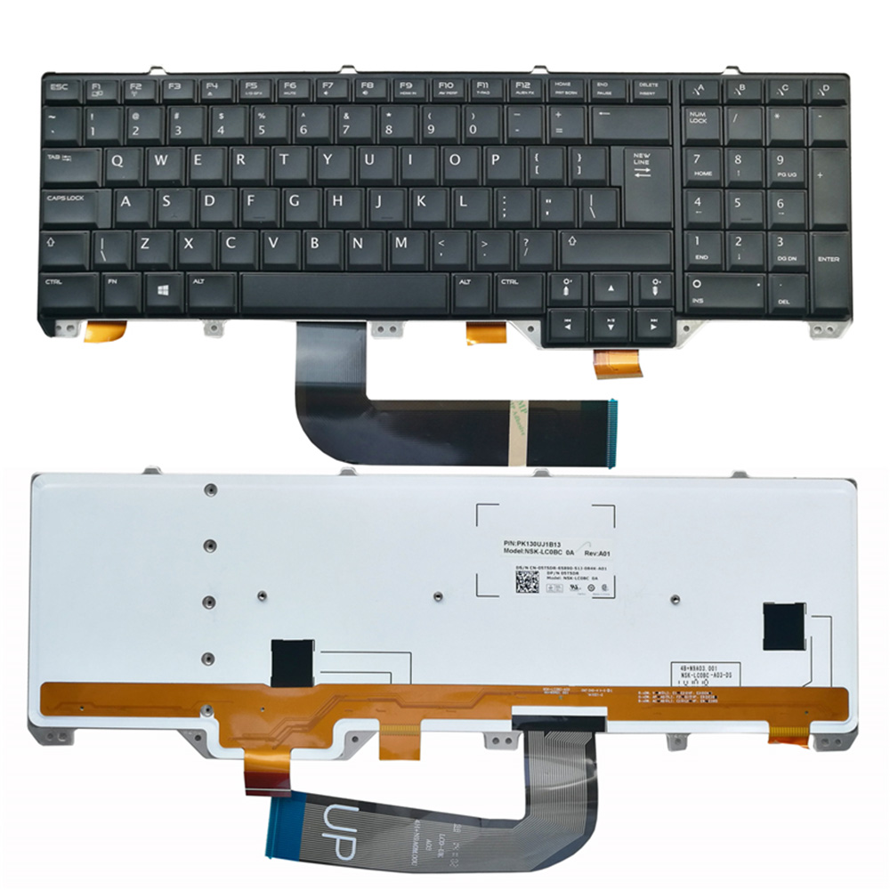 New laptop keyboard for Dell Alienware m15x US BLACK