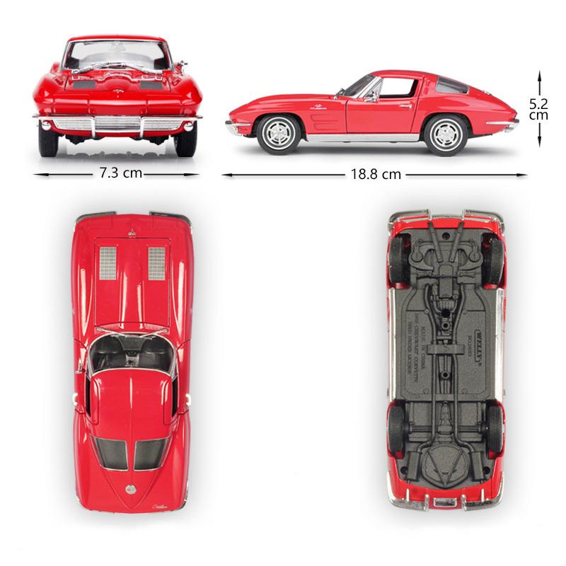 WELLY 1963 Chevrolet Corvette 1:24 Diecast Model Car Choose Color RED//BK//BLUE