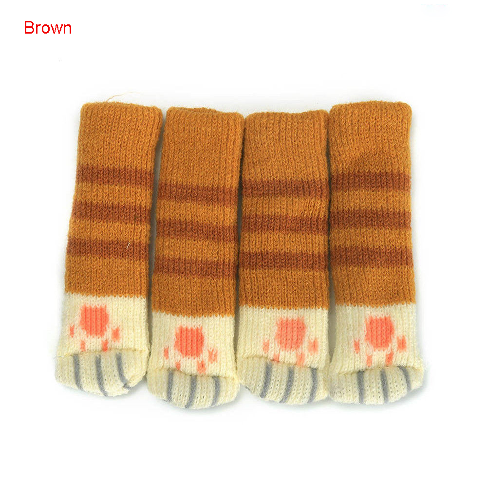 4pcs Cat Paw Table Chair Foot Leg Knitted Cover Protector Sock Sleeve Protector