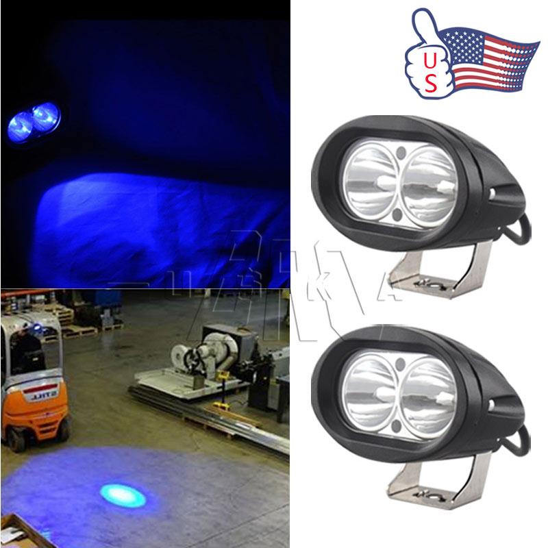 2 X Blue Forklift LED Light Warehouse Safety Warning Lamp