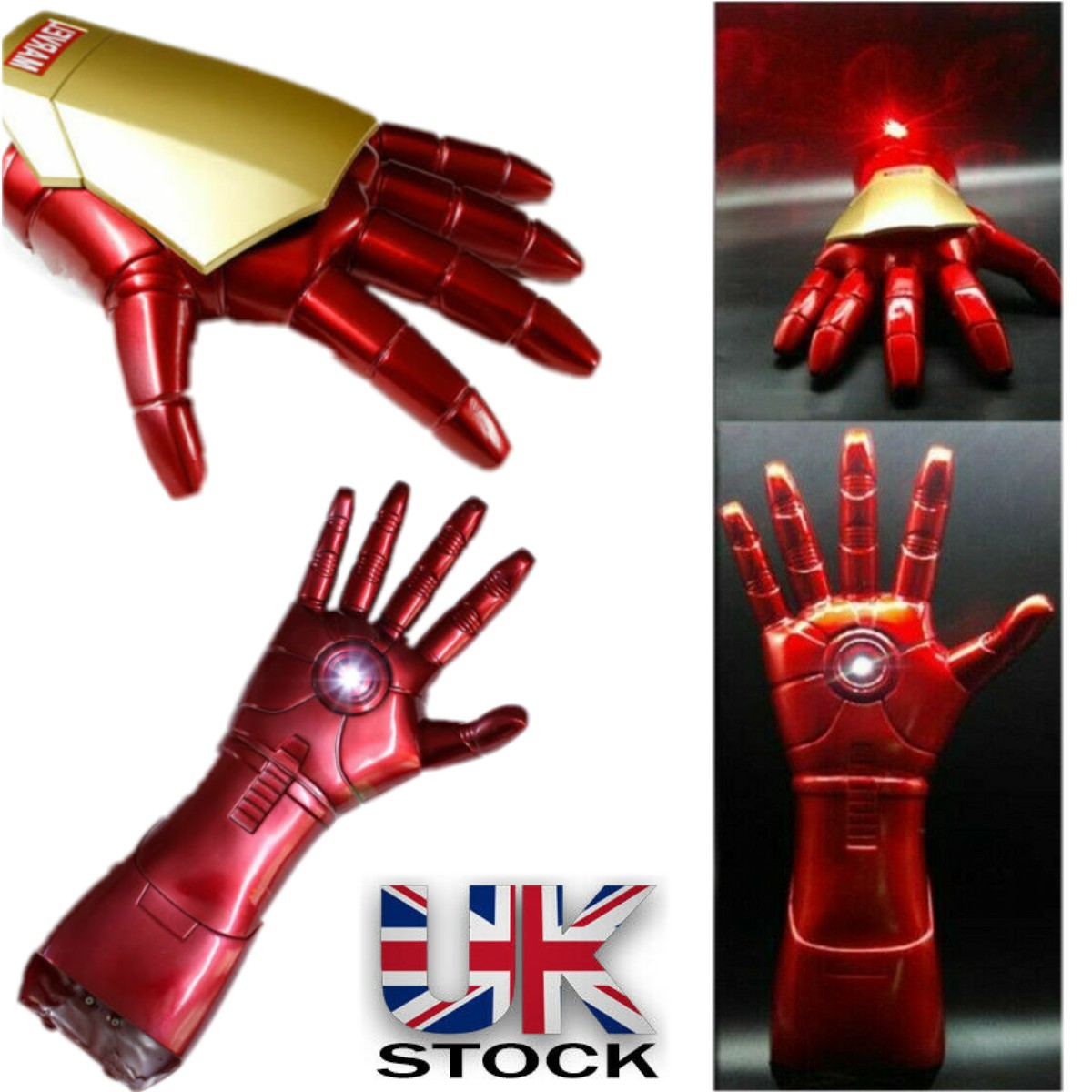 The Avengers Iron Man Stark Movie Arm Gloves LED Light Model Toy Cosplay Fashion