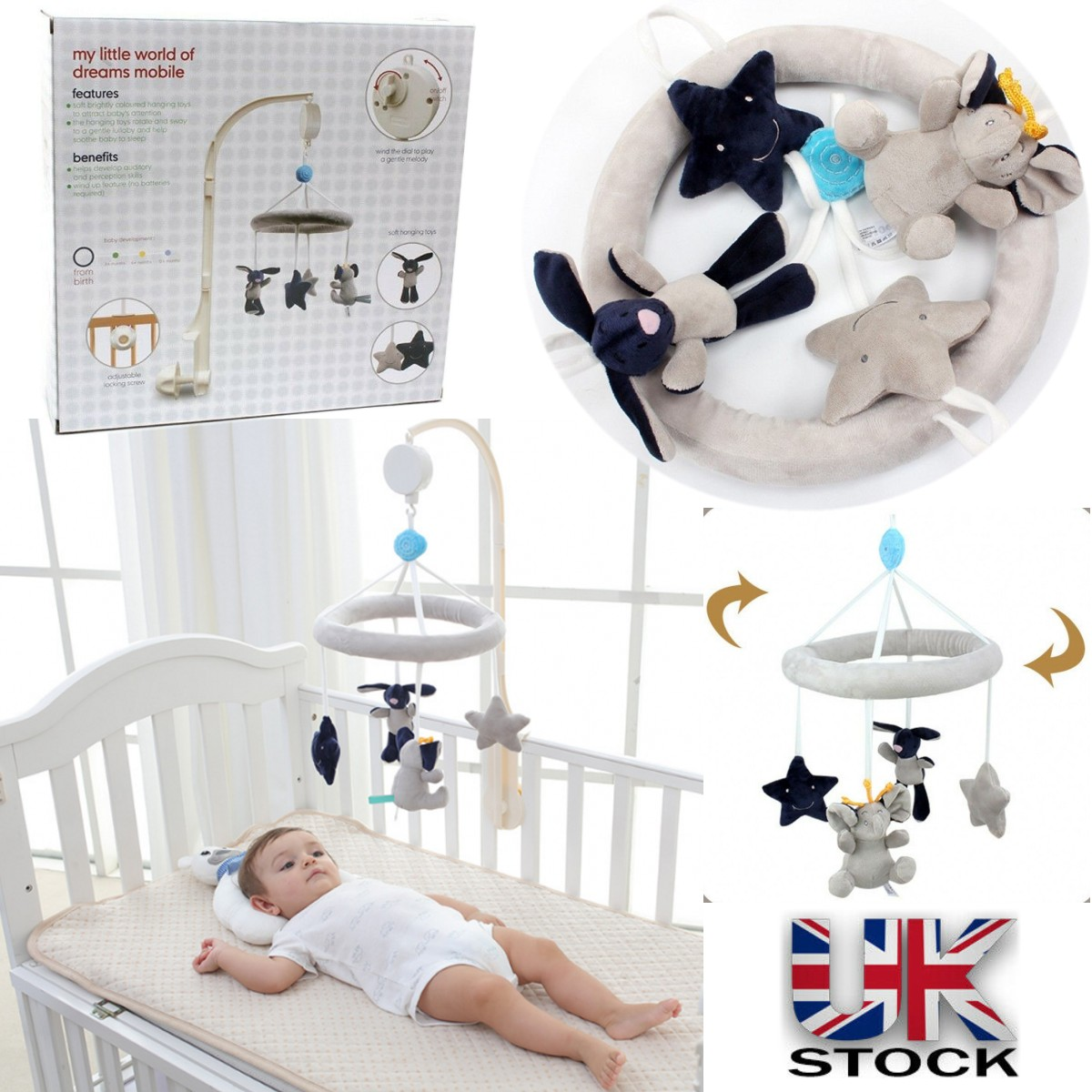 Music Elephant Bell Rattles Bed Safety Seat Baby Soft Plush Stroller Dolls Toys