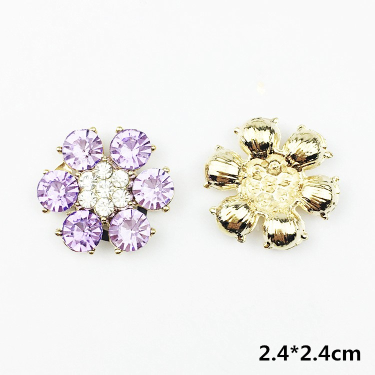 10Pcs Embellishments Rhinestones Flowers Flat Back Buttons for DIY Crafting 24mm