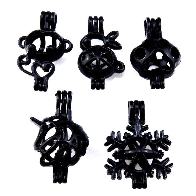 21906 5X//lot Black Locket Mix Dog Paw Rabbit Snowflake Beads Pearl Cage Pendant