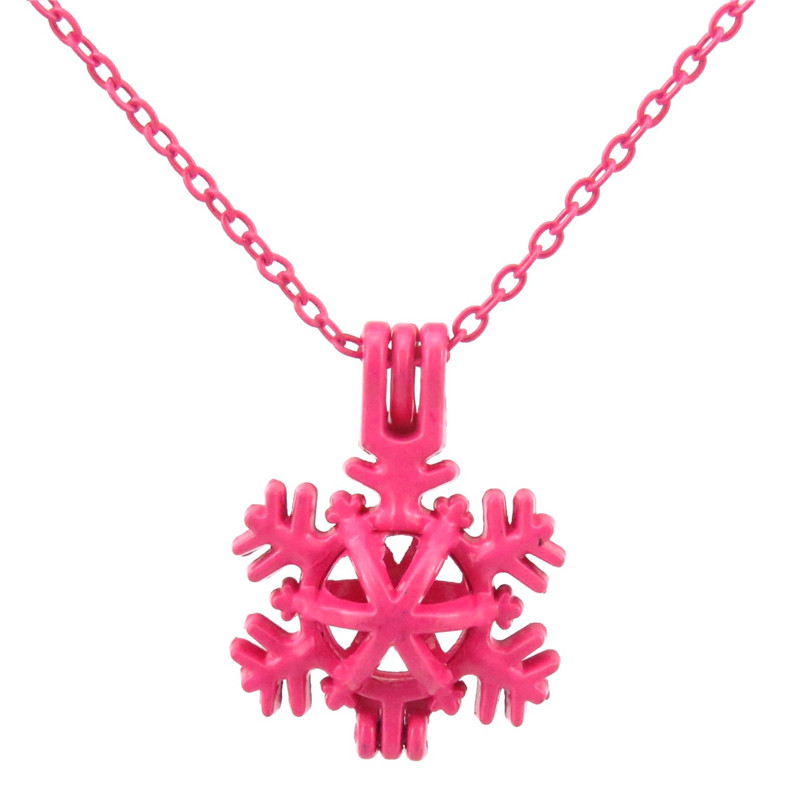 R289 Hot Pink plated Pearl Beads Cage Choker Necklace in 25mm Snowflake Winter